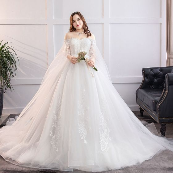 Fabulous White Ball Gown Plus Size Wedding Dresses 2019 Lace Tulle Liques Backless Strapless Chapel Train