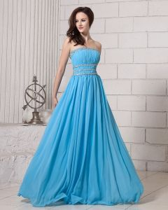 Elegant Solid Ruffle Beading Strapless Chiffon Women Evening Dresses