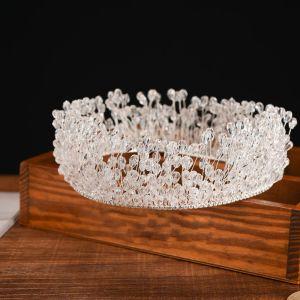 Mooie / Prachtige Witte Bruidssieraden 2017 Metaal Kralen Kristal Rhinestone Handgemaakt Haaraccessoires Huwelijk Gala Accessoires