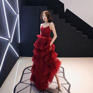Sexy Burgundy Evening Dresses  2019 A-Line / Princess Spaghetti Straps Sleeveless Backless Cascading Ruffles Floor-Length / Long Formal Dresses