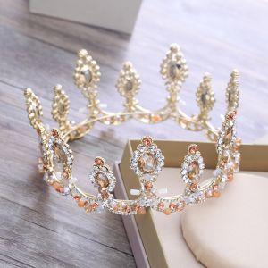 Luxus / Herrlich Gold Metall Diadem 2018 Perlenstickerei Kristall Strass Hochzeit Brautaccessoires