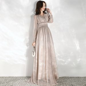 Chic / Beautiful Champagne Evening Dresses  2020 Empire V-Neck Puffy Long Sleeve Glitter Tulle Floor-Length / Long Ruffle Backless Formal Dresses