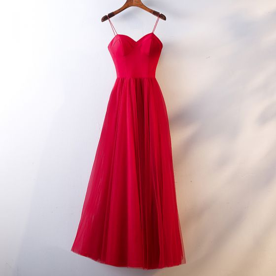 Simple Rouge Robe De Soirée 2019 Princesse Bretelles Spaghetti Sans Manches Dos Nu Longue Robe De Ceremonie