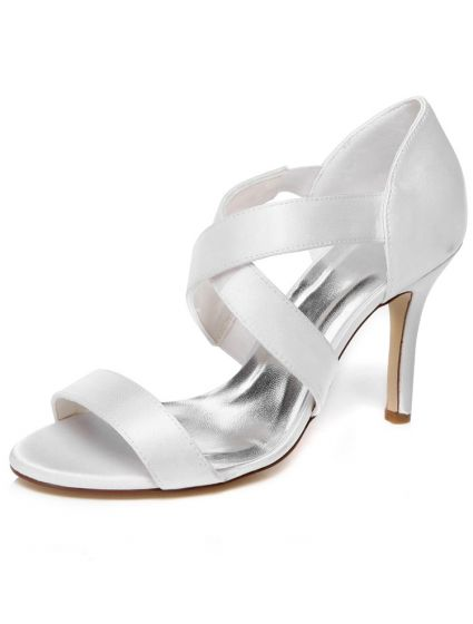 Strappy Wedding Sandals High Heel 9 cm Stiletto Heels White Bridal Shoes