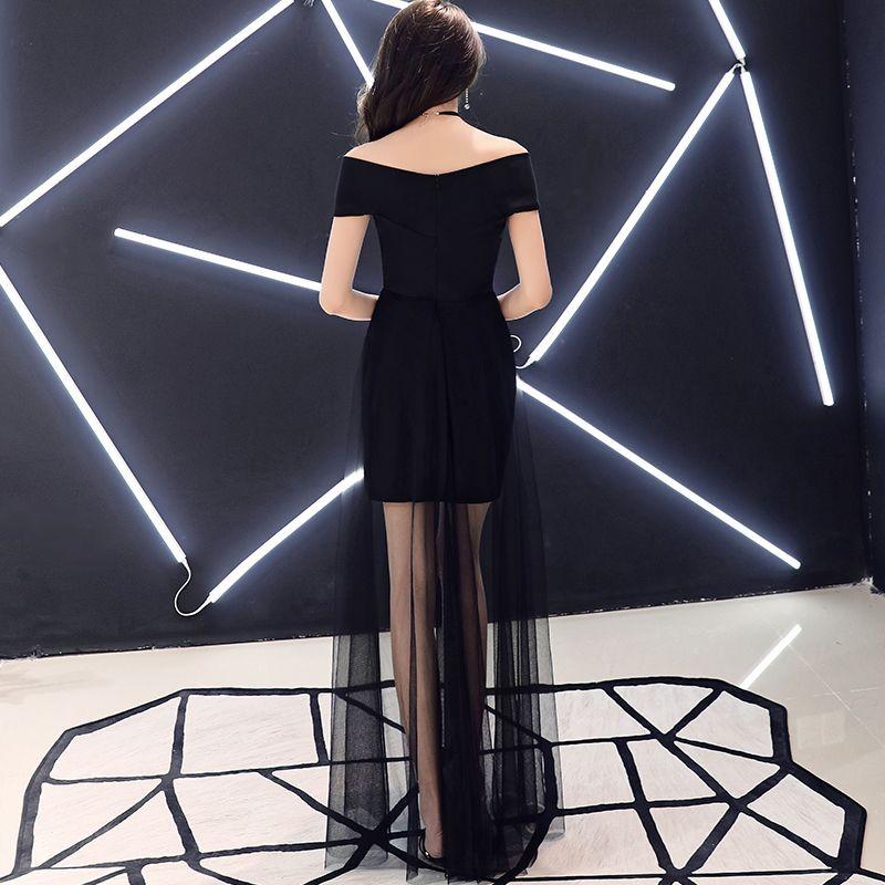 Simple Abordable Noire Été Robe De Soirée 2019 Princesse De l'épaule Manches Courtes Longue Dos Nu Robe De Ceremonie