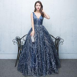 Elegante Marineblau Sternenklarer Himmel Abendkleider 2017 Ballkleid Pailletten Rückenfreies V-Ausschnitt Ärmellos Lange Festliche Kleider