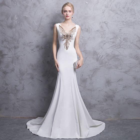 Chic / Beautiful White Evening Dresses  2017 Trumpet / Mermaid V-Neck Sleeveless Rhinestone Court Train Backless Formal Dresses