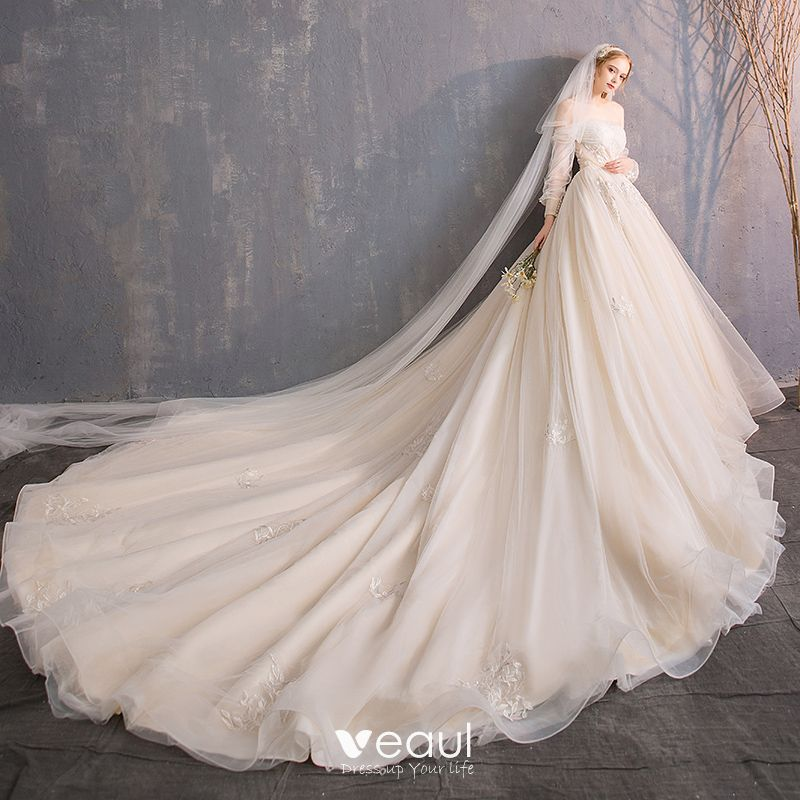 Audrey Hepburn Style Champagne Wedding Dresses 2019 A-Line / Princess Off-The-Shoulder Beading Sequins Pearl Lace Flower 3/4 Sleeve Backless Royal Train
