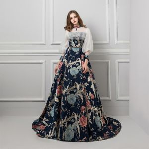 Formal Dresses Evening Dresses  Multi-Colors Navy Blue Zipper Up Puffy See-through Beading Ruffle Sash Court Train Polyester High Neck Evening Party Fall Spring Summer Long Sleeve A-Line / Princess 2019 Vintage / Retro