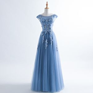 Chic / Beautiful Ocean Blue Evening Dresses  2017 A-Line / Princess Pearl Scoop Neck Sleeveless Appliques Flower Beading Sash Floor-Length / Long Ruffle Backless Formal Dresses