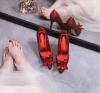 Luxe Champagne Handgemaakt Assepoester Bruidsschoenen 2019 Leer Kristal Rhinestone 9 cm Naaldhakken / Stiletto Spitse Neus Huwelijk Pumps