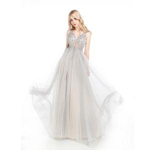 Sparkly Grey Evening Dresses  2017 A-Line / Princess V-Neck Sleeveless Rhinestone Beading Sequins Floor-Length / Long Backless Pierced Formal Dresses