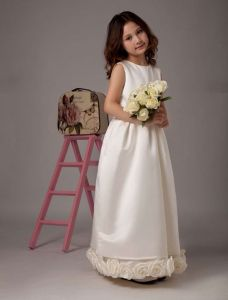 Ivory Sleeveless Sash Satin Flower Girl Dress