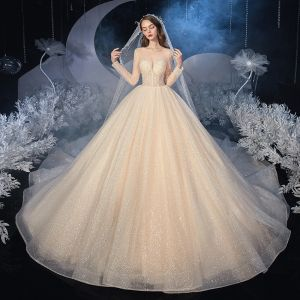 Best Champagne Bridal Wedding Dresses 2020 Ball Gown See-through Scoop Neck Long Sleeve Backless Beading Glitter Tulle Cathedral Train Ruffle