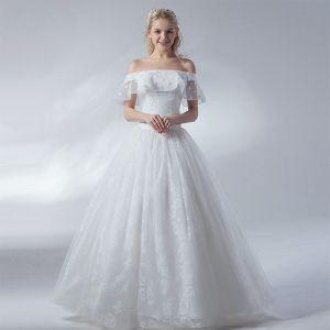 Erschwinglich Ivory / Creme Brautkleider / Hochzeitskleider 2018 Ballkleid Spitze Blumen Off Shoulder Rückenfreies Kurze Ärmel Lange Hochzeit