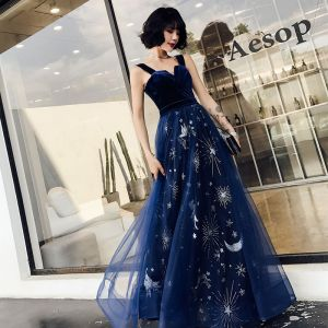 Chic / Beautiful Navy Blue Evening Dresses  2019 A-Line / Princess Shoulders Sleeveless Sash Glitter Star Floor-Length / Long Ruffle Backless Formal Dresses