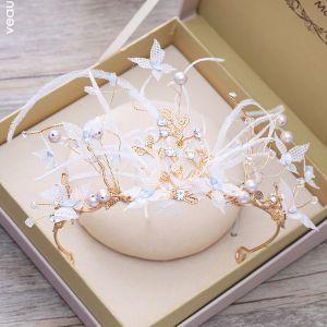 Unique Gold Diadem 2018 Metall Feder Schmetterling Perle Strass Ball Brautaccessoires