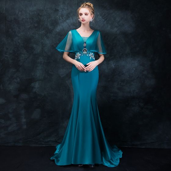 Elegant Ink Blue Evening Dresses  2018 Trumpet / Mermaid V-Neck Short Sleeve Rhinestone Crystal Sash Sweep Train Ruffle Backless Formal Dresses