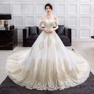 Luxury / Gorgeous Gold Ivory Wedding Dresses 2018 Ball Gown Off-The-Shoulder Short Sleeve Backless Glitter Sequins Pearl Beading Ruffle Cathedral Train