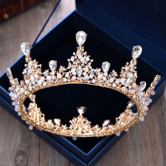 Lyx Guld Metall Bröllop Tillbehör 2018 Kristall Rhinestone Tiara