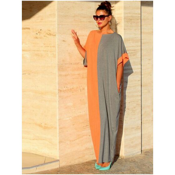 Two Tone Casual Summer Maxi Dresses 2018 Scoop Neck Short Sleeve Ankle Length Womens Clothing