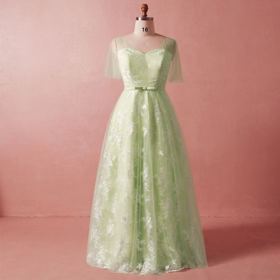 Chic / Beautiful Green Plus Size Evening Dresses 2018 Summer A-Line /  Princess 1/2 Sleeves Crossed Straps Sash V-Neck Tulle Appliques Backless  Evening ...