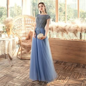 Chic / Belle Océan Bleu Transparentes Robe De Soirée 2020 Princesse Encolure Dégagée Manches Courtes Perlage Gland Longue Volants Dos Nu Robe De Ceremonie
