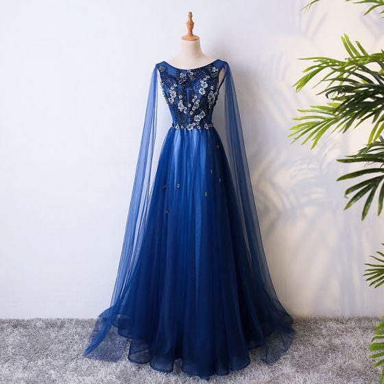 Chic / Belle Bleu Roi Robe De Soirée 2017 Princesse En Dentelle Fleur Cristal Perlage Encolure Dégagée Dos Nu Sans Manches Longue Robe De Ceremonie