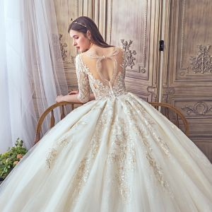 Fabulous Champagne See-through Wedding Dresses 2019 A-Line / Princess Square Neckline 3/4 Sleeve Backless Pierced Appliques Lace Beading Glitter Tulle Cathedral Train Ruffle