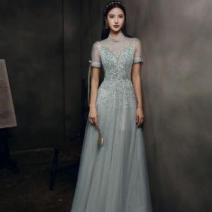 Wysokiej Klasy Szary Taniec Przezroczyste Sukienki Na Bal 2021 Princessa Wysokiej Szyi Bufiasta Kótkie Rękawy Frezowanie Cekiny Długie Wzburzyć Bez Pleców Sukienki Wizytowe