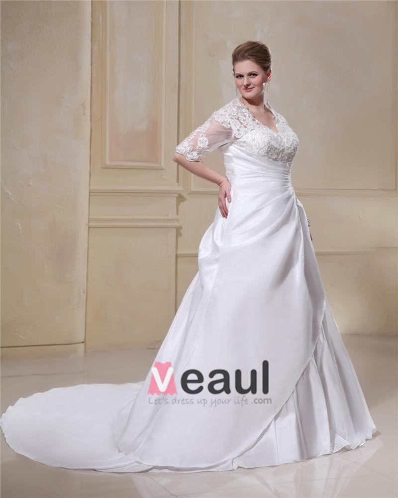 Taffeta Lace Applique Beaded Queen Anne Plus Size Bridal Gown Wedding Dresses