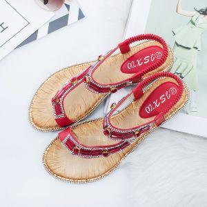 Bohemia Summer Red Beach Slipper & Flip flops 2020 Rhinestone Open / Peep Toe Womens Shoes