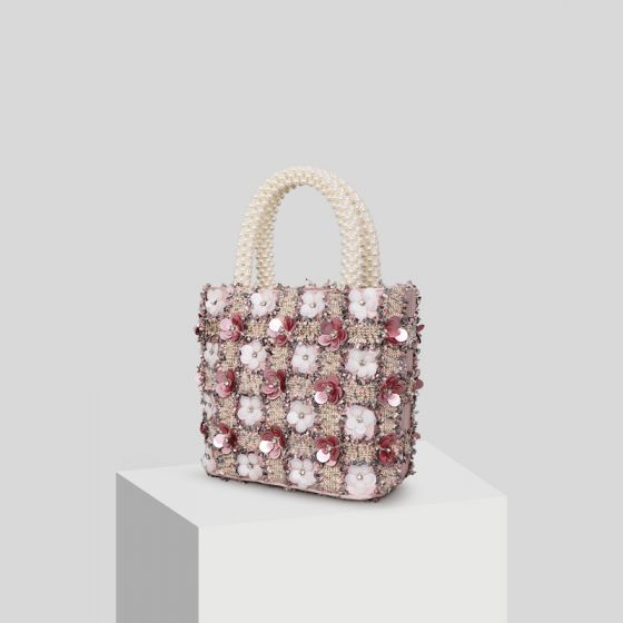 Chic / Beautiful Blushing Pink Appliques Flower Pearl Clutch Bags 2019