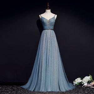 Elegante Blau Abendkleider 2019 A Linie Spaghettiträger Perlenstickerei Stoffgürtel Ärmellos Rückenfreies Lange Festliche Kleider