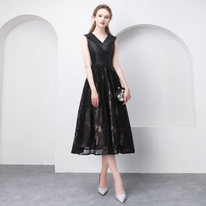 Chic / Beautiful Black Tea-length Graduation Dresses 2018 A-Line / Princess V-Neck Tulle Printing Homecoming Formal Dresses