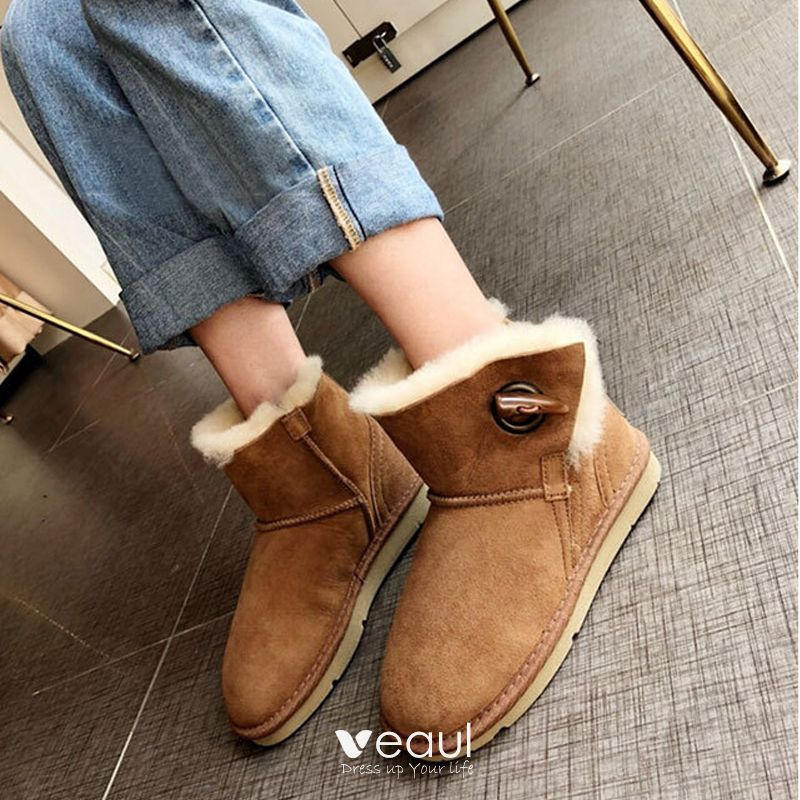 Classy Brown Flat Snow Boots 2020 Winter Leather Casual Outdoor / Garden  Ankle Buckle Platform Womens Boots