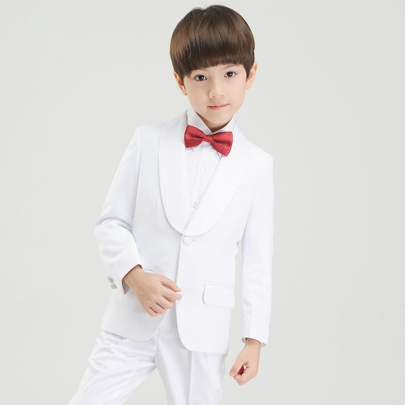 Modest / Simple White Long Sleeve Boys Wedding Suits 2017
