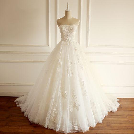 Schone Ivory Creme Brautkleider Hochzeitskleider 2018 Ballkleid