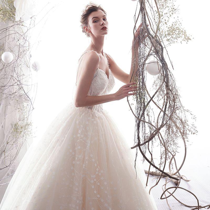 Elegant Champagne Wedding Dresses 2019 A-Line / Princess Spaghetti Straps Beading Pearl Lace Flower Sleeveless Backless Floor-Length / Long