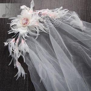 Luxe 2017 1.5 m Blozen Roze Witte Kant Appliques Bloem Tule Bruidssluier