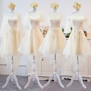 High Low Champagne Summer Bridesmaid Dresses 2018 A-Line / Princess Appliques Lace Asymmetrical Ruffle Backless Wedding Party Dresses