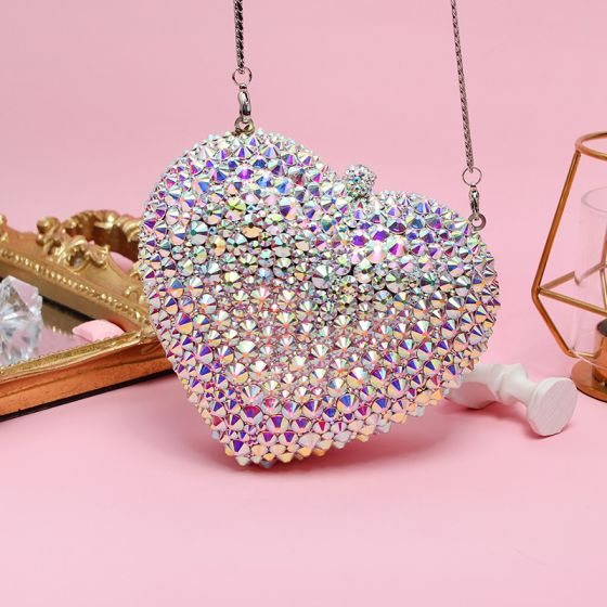 Sparkly Multi-Colors Heart-shaped Rhinestone Clutch Bags 2019