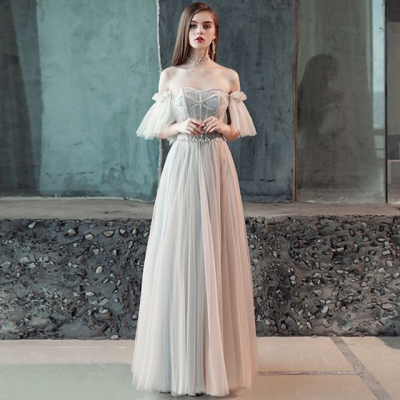 Elegant Grey Evening Dresses  2018 A-Line / Princess Pleated Beading Crystal Off-The-Shoulder Backless Short Sleeve Floor-Length / Long Formal Dresses
