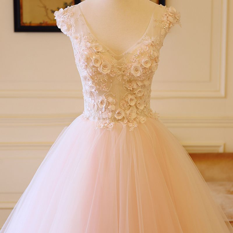 Charming Ivory Blushing Pink Wedding Dresses 2018 A-Line / Princess V-Neck Sleeveless Backless Appliques Flower Beading Ruffle Chapel Train