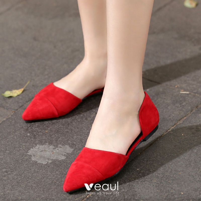 Chic / Beautiful Outdoor / Garden Womens Shoes 2017 Leather Suede Flat Pointed Toe Sandals