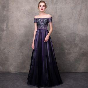 Élégant Grape Robe De Soirée 2018 Princesse De l'épaule Manches Courtes Appliques En Dentelle Perlage Longue Volants Dos Nu Robe De Ceremonie