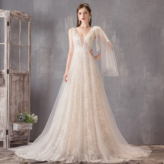7b725481f64 chic-beautiful-ivory-wedding-dresses-2019-a-line-princess-v-neck -lace-flower-sleeveless-backless-sweep-train-560x560.jpg