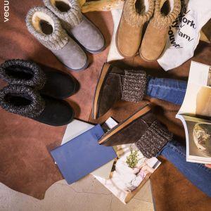 Mode Schneestiefel 2017 Leder Ankle Boots Wildleder Woll Freizeit Winter Flache Stiefel Damen