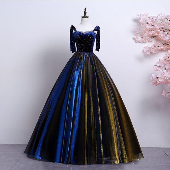 Elegante Koninklijk Blauw Goud Galajurken 2019 A lijn Spaghettibandjes Suede Kant Ster Mouwloos Ruglooze Lange Gelegenheid Jurken