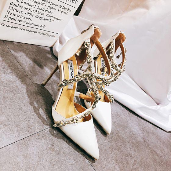 Charmig Vita Brudskor 2020 Läder Rhinestone X-Rem 10 cm Stilettklackar Spetsiga Bröllop Sandaler